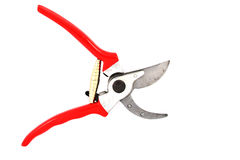 Red garden secateurs Royalty Free Stock Photo