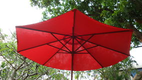 Red garden umbrella Royalty Free Stock Photography