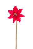 Red garden windmill isolated over white background. Royalty Free Stock Images