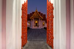 Wat Benchamabophit or marble temple entrance. Red gare entrance of wat benchamabophit ,marble temple one of most famous travel destination in Bangkok, Thailand royalty free stock photos