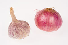 Red garlic and onion Royalty Free Stock Images