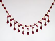 Red garnet necklace Stock Image