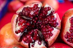 Red Garnet in section on litlle berries royalty free stock photography