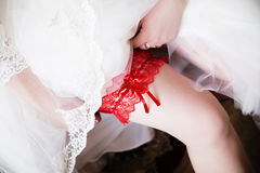 Red garter on leg of the bride, morning bride, the bride wears a. Photo of red garter on leg of the bride, morning bride, the bride wears a garter on the leg Royalty Free Stock Image