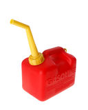 Red gas can. A red gasoline can isolated on white royalty free stock image