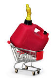 Red Gas Can. Red gas can in shopping cart stock image