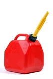 Red Gas Can. With Yellow Flexible Spout, Isolated Over White royalty free stock images