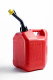 Red Gas Can. A Plastic red gas can on a white background with shadow Stock Image