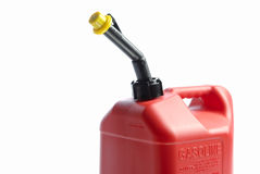 Red Gas Can. A Plastic red gas can on a white background with shadow Royalty Free Stock Image