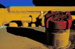 Red Gas Cap. On heavy equipment stock photo