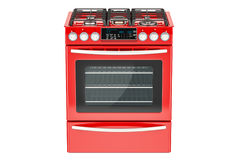 Red gas cooker with oven front view, 3D rendering Royalty Free Stock Photography