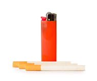Red gas lighter and cigarettes Royalty Free Stock Photo