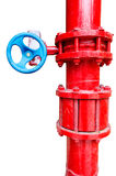 Red gas pipe with blue valve Stock Photos
