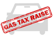 Red gas tax raise rubber stamp on grey car icon Royalty Free Stock Photo