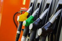 Gasoline filling station and fuel nozzle. Stock Images