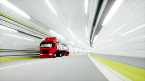 Red Gasoline tanker in a tunnel. fast driving. oil concept. 3d rendering. Red Gasoline tanker in a tunnel. fast driving. oil concept. 3d rendering stock footage