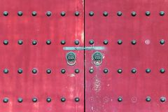 Red gate in chinese temple Stock Photos