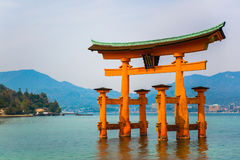 Red gate located in the sea at miyajima island Hiroshima Royalty Free Stock Photography