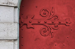 Red gate with pattern. Of Hungary Royalty Free Stock Image