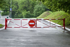 Red gate sign forbidding passage Royalty Free Stock Photos