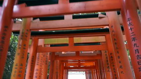 Red gate torii at Fushimi Inari temple shrine in Kyoto, Japan. Video of Red gate torii at Fushimi Inari temple shrine in Kyoto, Japan stock footage