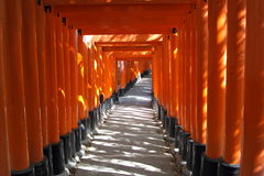 Red gates tunnel in Kyoto Stock Image