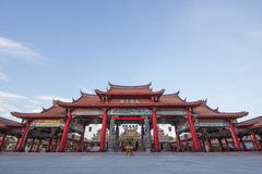 Red gateway of Chinese temple Royalty Free Stock Photos