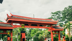 Red gateway of a chinese temple photo taken in Bogor Indonesia Royalty Free Stock Photo