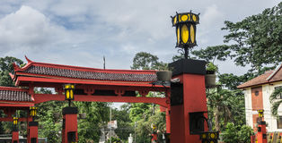 Red gateway from Chinese temple with yellow lampion photo taken in Bogor Indonesia Royalty Free Stock Photo