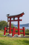 Gateway of Shinto shrine given to Canada. Red gateway of Shinto shrine given to Canada Royalty Free Stock Images
