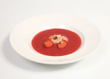 Red gazpacho with shrimps Stock Photo