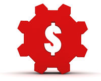 Red gear with a dollar sign Royalty Free Stock Image