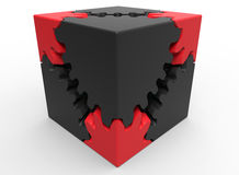 Red gear puzzle cube Royalty Free Stock Photos