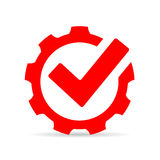 Red gear tick icon, abstract technology symbol. On white background Royalty Free Stock Photo