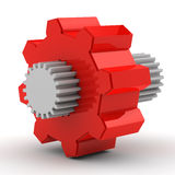 Red gear with white in the middle Stock Photography