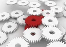 Red Gears. Mass of 3d gears, horizontal, red and white Stock Photos