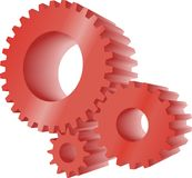 Red gears. Set of three red working gears Royalty Free Stock Photo