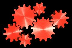 Red gears. Red 3d gears interlocking Royalty Free Illustration