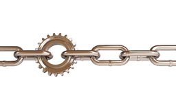 Red gears chain links. On a white background Stock Photo