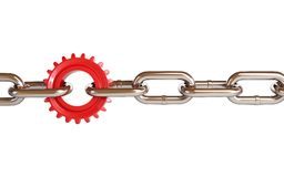 Red gears chain links Stock Photography
