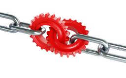 Red gears chain links. On a white background Stock Photography