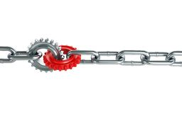 Red gears chain links Stock Image