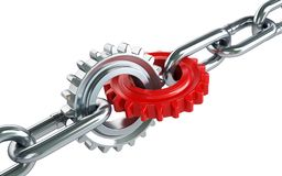 Red gears chain links. On a white background Royalty Free Stock Photo