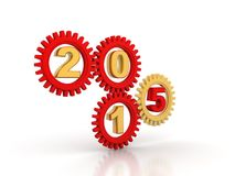 2015 Red Gears. Red gears with red numbers 2015. White background Stock Photography