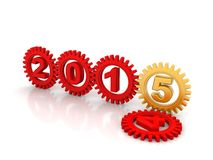 2015 Red Gears. Red gears with red numbers 2015. White background Stock Photos