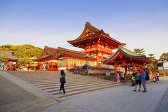 Red geates at Fushimi Inari shrine, one of famous landmarks in Kyoto, Japan Royalty Free Stock Image
