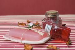 Red gel and soap. Stock Photo