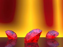 Red gem stones on a colored background. 3d illustration.  royalty free illustration