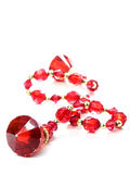 Red Gems In A Chain Isolated Royalty Free Stock Photo