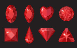 Red gems set. Jewelry, crystals collection  on black background. Rubies, diamonds of different shapes, cut Stock Photo
